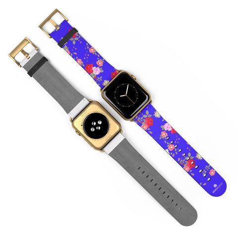 Purple Red Floral Rose Print 38mm/42mm Watch Band For Apple Watch- Made in USA-Watch Band-Heidi Kimura Art LLC