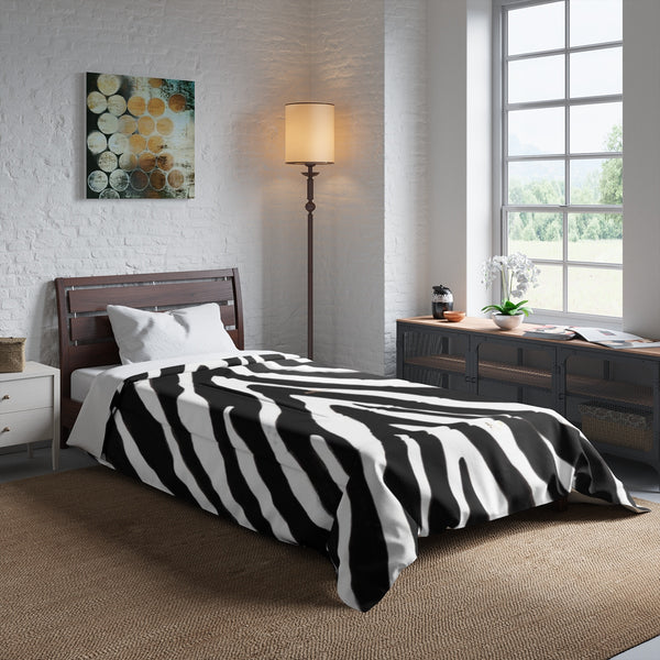 Zebra Animal Print Comforter Blanket for Queen/Full/Twin/King Size Bed-Made in USA-Comforter-Heidi Kimura Art LLC