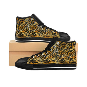Hisako Striped Orange Bengal Tiger Stripe Print Women's High Top Sneakers Running Shoes(US Size 6-12) Striped Sneakers Tiger Patterned Shoes, Tiger Striped Stripe Faux Fur Animal Print Women's High Top Canvas Sneakers, Animal lovers Print Black Sneakers, Ladies Tiger Stripe  Hisako Striped Orange Royal Bengal Tiger Stripe Print Women's High Top Sneakers Running Shoes (US Size 6-12) Hisako Striped Royal Bengal Tiger Women's High Top Sneakers Running Shoes