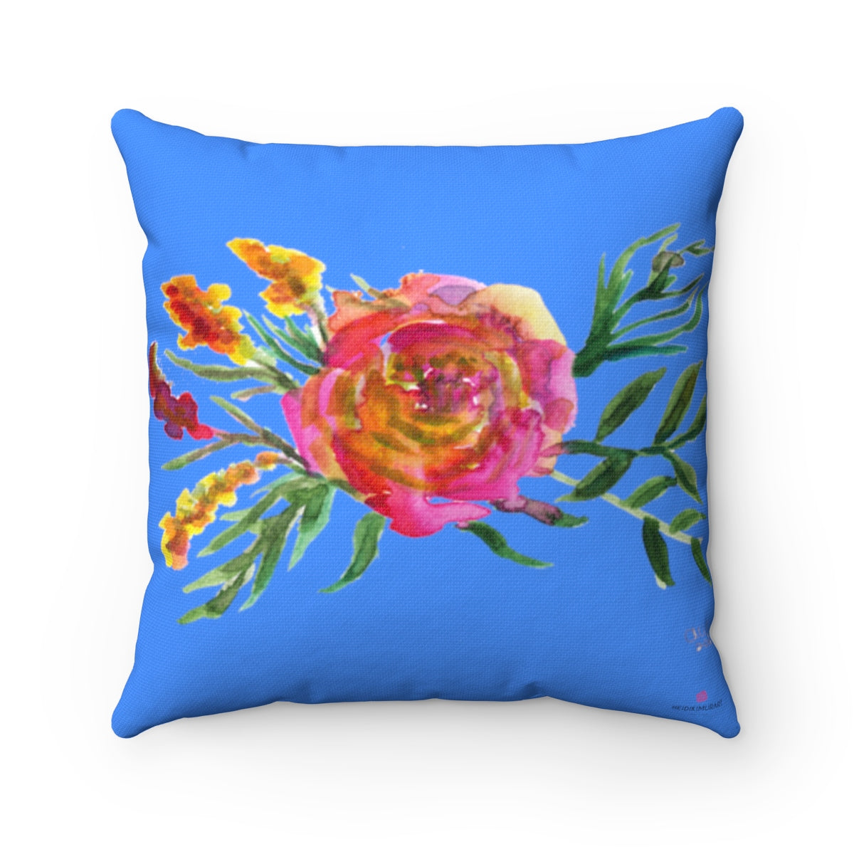 "Red Rose Girlie Floral Wreath Blue Spun Polyester Square Pillow 14""/16""/18""/20""-Pillow-14x14-Heidi Kimura Art LLC"