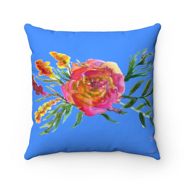 "Ikewaki Red Rose Girlie Floral Wreath Blue Spun Polyester Square Pillow - Made in USA, Blue Floral Print Pillow, Rose Pillow 14x14, 16x16, 18x18, 20x20 inches  Ikewaki Red Rose Girlie Floral Wreath Blue Spun Polyester Square Pillow 14""/16""/18""/20"" - Made in USA Ikewaki Red Rose Girlie Floral Wreath Blue Spun Polyester Square Pillow - Made in USA"
