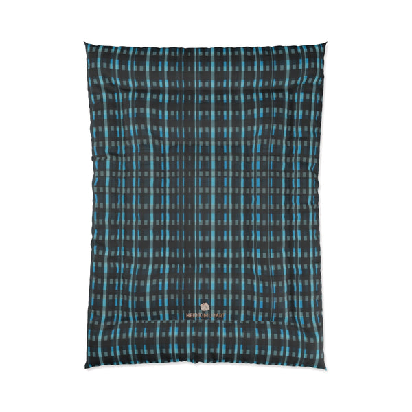 Blue Tartan Plaid Print Luxury Designer Best Comforter For King/Queen/Full/Twin Bed-Comforter-68x92-Heidi Kimura Art LLC