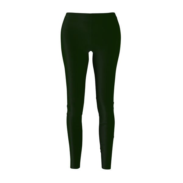 Basil Green Women's Casual Leggings, Classic Solid Color Print Best Tights - Made in USA-Casual Leggings-M-Heidi Kimura Art LLC