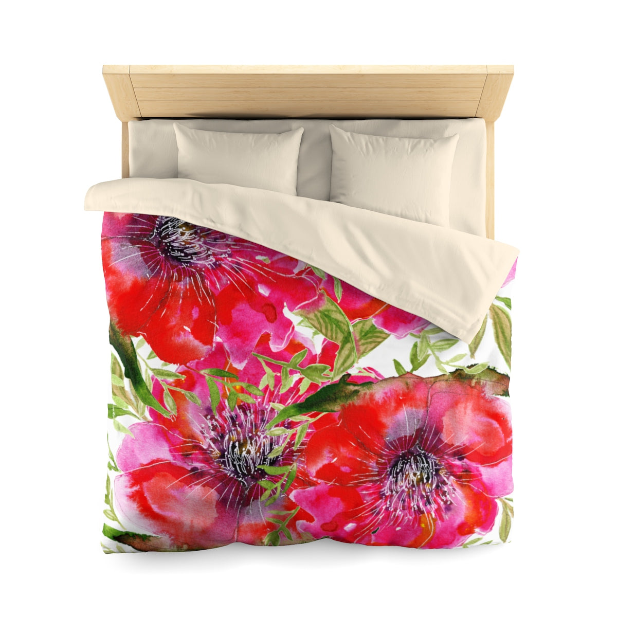 Hot Red Hibiscus Flower Floral Print Soft Polyester Microfiber Duvet Cover - Made in USA-Duvet Cover-Queen-Cream-Heidi Kimura Art LLC