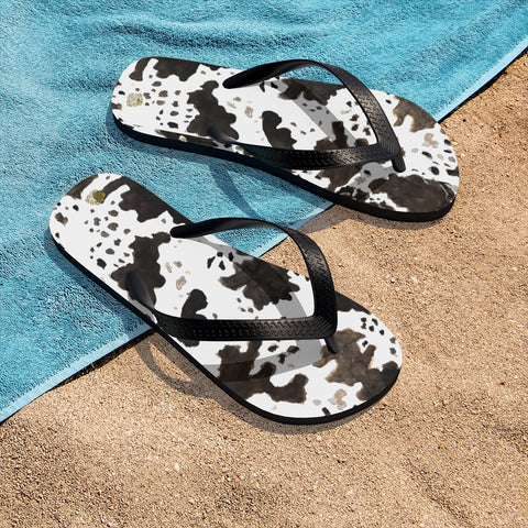 White Brown Black Cow Print Designer Unisex Flip-Flops For Men & Women - Made in USA-Flip-Flops-Heidi Kimura Art LLC
