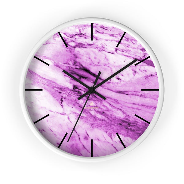 "Pink White Marble Print Art Large Indoor 10"" diameter Designer Wall Clock-Made in USA-Wall Clock-10 in-White-Black-Heidi Kimura Art LLC"