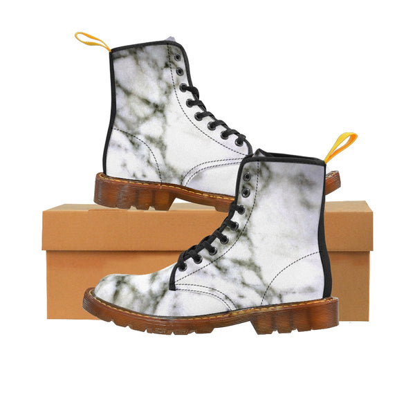 White Marble Print Designer Women's Canvas Lace-up Winter Boots Shoes (US Size: 6.5-11)-Women's Boots-Brown-US 8.5-Heidi Kimura Art LLC