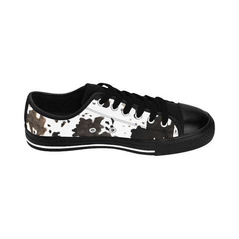 Cow Print Men's Sneakers, Farm Animal Print Casual Low Top Fashion Casual Designer Men's Low Tops, Premium Men's Nylon Canvas Tennis Fashion Sneakers Shoes (US Size: 7-14)
