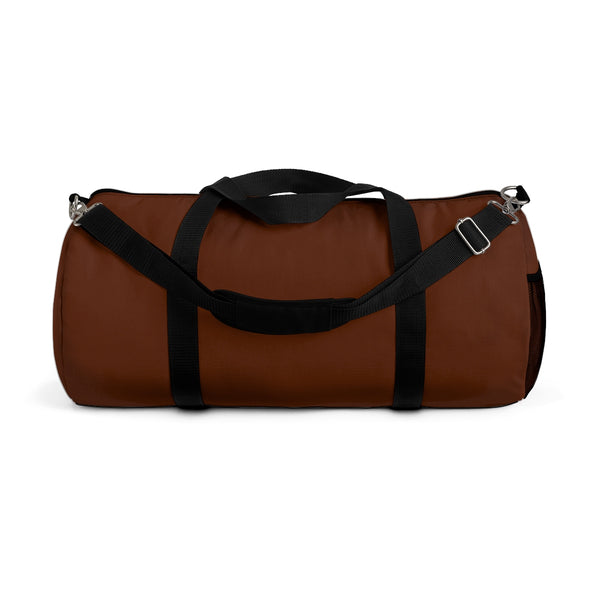 Cowboy Brown Solid Color All Day Small Or Large Size Duffel Bag, Made in USA-Duffel Bag-Small-Heidi Kimura Art LLC
