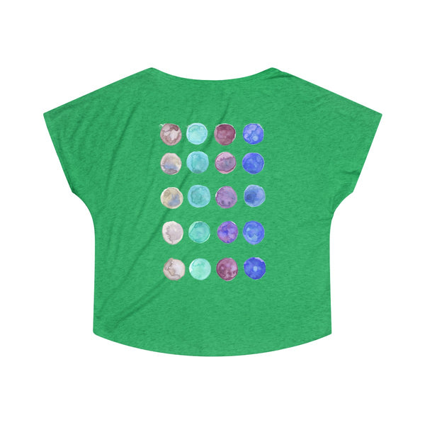 Cute Watercolor Dots Print Women's Tri-Blend T-Shirt Made in U.S.A. (US Size: S-XL)-T-Shirt-Heidi Kimura Art LLC