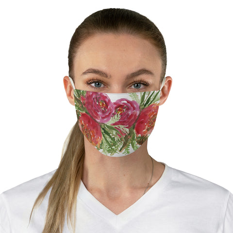 "Red Rose Floral Face Mask, Adult Watercolor Flower Print Fabric Face Mask-Made in USA-Accessories-Printify-One size-Heidi Kimura Art LLC Red Rose Floral Face Mask, Adult Watercolor Flower Face Covering, Flower Elegant Designer Fashion Face Mask For Men/ Women, Designer Premium Quality Modern Polyester Fashion 7.25"" x 4.63"" Fabric Non-Medical Reusable Washable Chic One-Size Face Mask With 2 Layers For Adults With Elastic Loops-Made in USA"