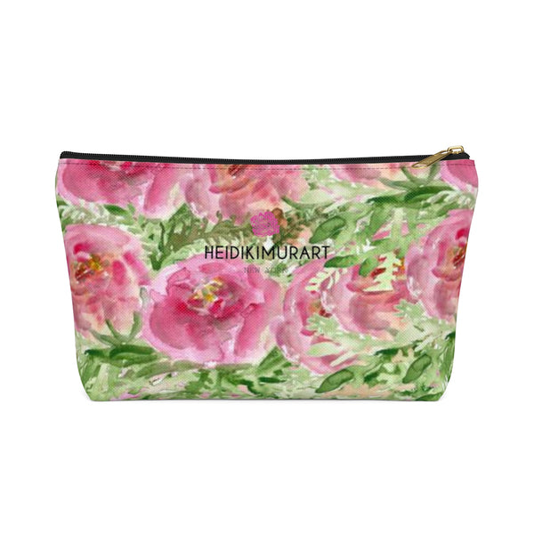 Pink Spokane Sweet Pink Rose Floral Designer Accessory Pouch with T-bottom-Accessory Pouch-Black-Large-Heidi Kimura Art LLC