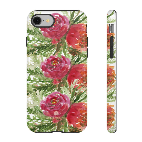 Red Orange Floral Phone Case, Flower Print Tough Designer Phone Case -Made in USA-Phone Case-Printify-iPhone 8-Glossy-Heidi Kimura Art LLC
