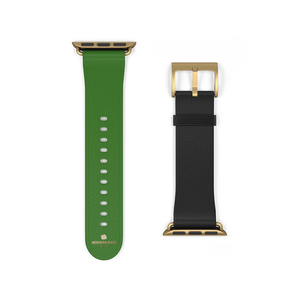 Black Green Duo Apple Band, Solid Color Print Premium Apple Watch Band- Made in USA-Watch Band-38 mm-Gold Matte-Heidi Kimura Art LLC