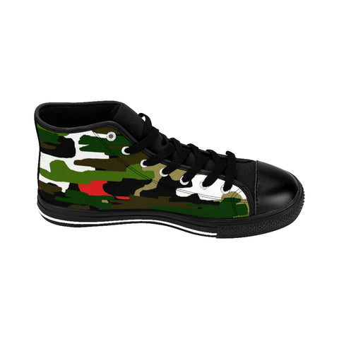 Green Camo Print Men's Sneakers, Green Red Brown White Colorful Mixed Camouflage Army Military Print Designer Men's Shoes, Men's High Top Sneakers US Size 6-14, Mens High Top Casual Shoes, Unique Fashion Tennis Shoes, Camo Print Printed Sneakers Shoes (US Size: 6-14)