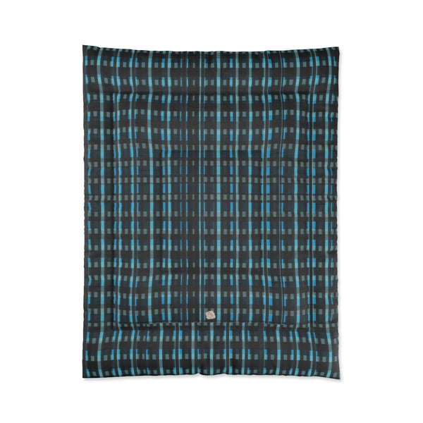 Blue Tartan Plaid Print Luxury Designer Best Comforter For King/Queen/Full/Twin Bed-Comforter-68x88-Heidi Kimura Art LLC