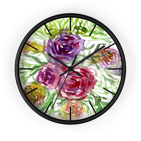 Pink Purple Floral Rose 10 inch Diameter Shabby Chic Girlie Wall Clock - Made in USA-Wall Clock-Black-Black-Heidi Kimura Art LLC