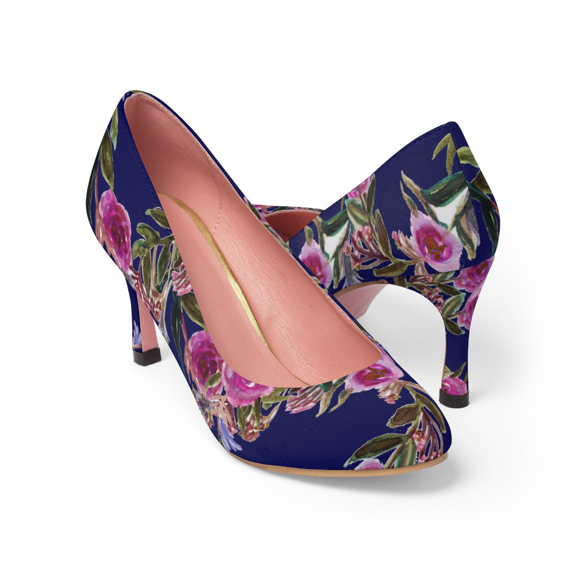 Navy Blue Floral Garden Purple Pink Rose Women's High Heels Canvas Shoes-3 inch Heels-Pink-US 7-Heidi Kimura Art LLC