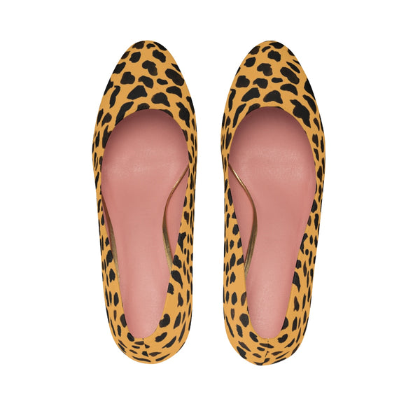 "Light Beach Brown Leopard Animal Print 3"" Durable Women's Luxury High Heels Shoes-3 inch Heels-Heidi Kimura Art LLC"