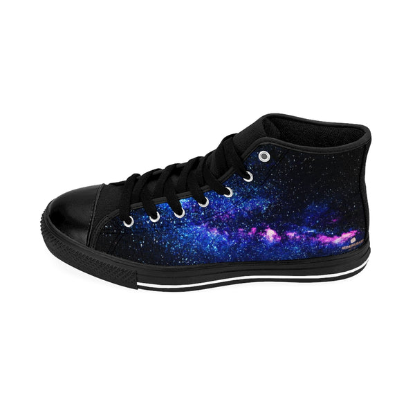 Blue Purple Galaxy Universe Space Print Men's High-top Sneakers Tennis Shoes-Men's High Top Sneakers-Black-US 9-Heidi Kimura Art LLC Blue Galaxy Men's High Tops, Blue Purple Galaxy Universe Space Print Designer Men's Shoes, Men's High Top Sneakers US Size 6-14, Mens High Top Casual Shoes, Unique Fashion Tennis Shoes, Galaxy Space Print Printed Sneakers Shoes (US Size: 6-14)