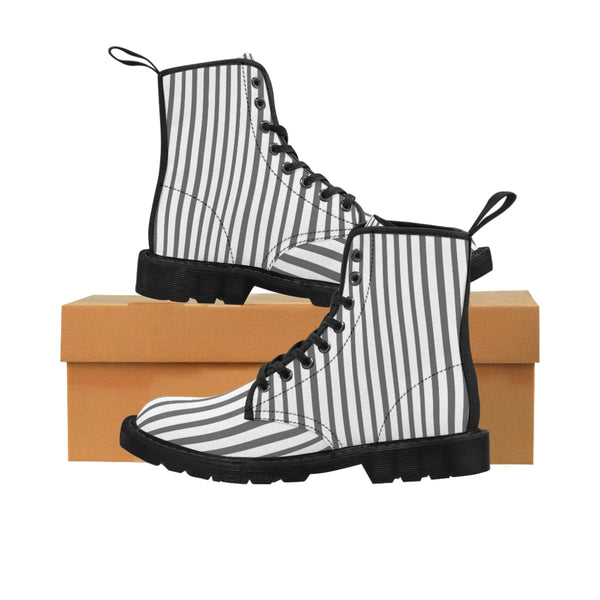 Grey Striped Print Men's Boots, White Stripes Best Hiking Winter Boots Laced Up Shoes For Men-Shoes-Printify-Heidi Kimura Art LLC Grey Striped Print Men's Boots, Grey White Stripes Men's Canvas Hiking Winter Boots, Fashionable Modern Minimalist Best Anti Heat + Moisture Designer Comfortable Stylish Men's Winter Hiking Boots Shoes For Men (US Size: 7-10.5)