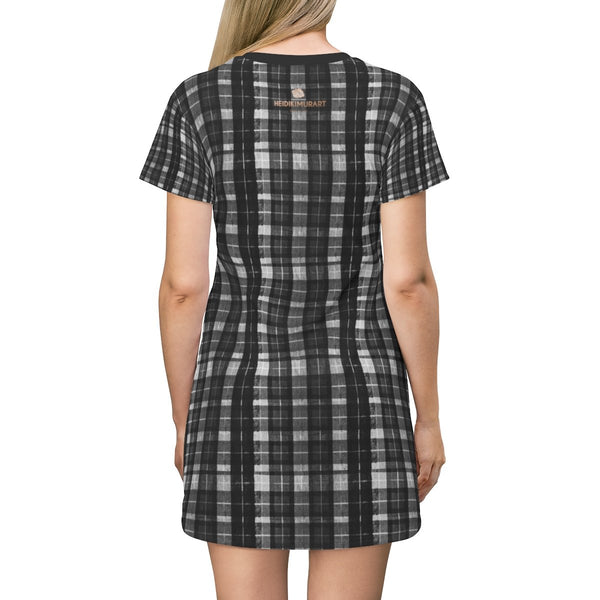 Black Tartan Print T-Shirt Dress, Gray Plaid Print Crew Neck Women's Dress- Made in USA-T-Shirt Dress-Heidi Kimura Art LLC