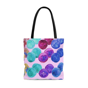 Light Pink Watercolor Colorful Polka Dots Print Women's Designer Tote Bag - Made in USA