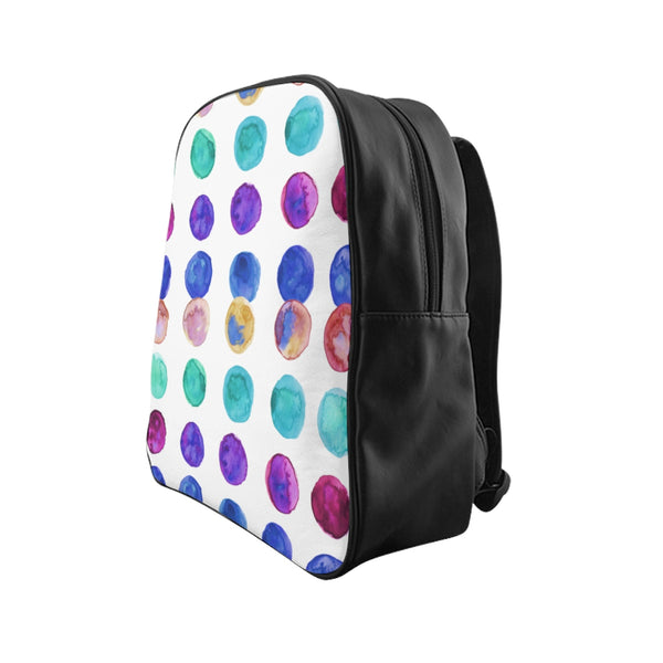 Cute Colorful Watercolor Blue Purple Green Polka Dots Print Designer School Backpack-Backpack-Heidi Kimura Art LLC