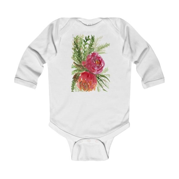 Floral Red Orange Rose Infant Long Sleeve Bodysuit - Made in UK (UK Size: 6M-24M)-Kids clothes-White-12M-Heidi Kimura Art LLC