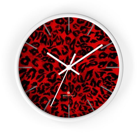 "Red Leopard Animal Print Large Unique Indoor Designer 10"" dia. Wall Clocks- Made in USA-Wall Clock-10 in-White-White-Heidi Kimura Art LLC"
