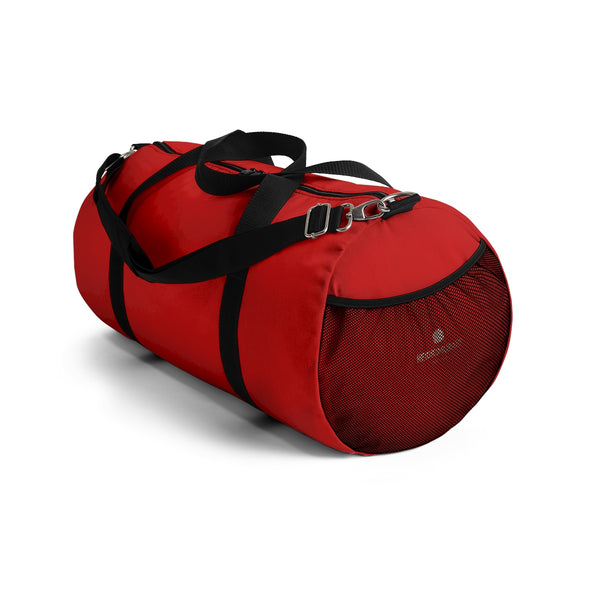 Red Solid Color All Day Small Or Large Size Duffel Bag, Made in USA-Duffel Bag-Heidi Kimura Art LLC
