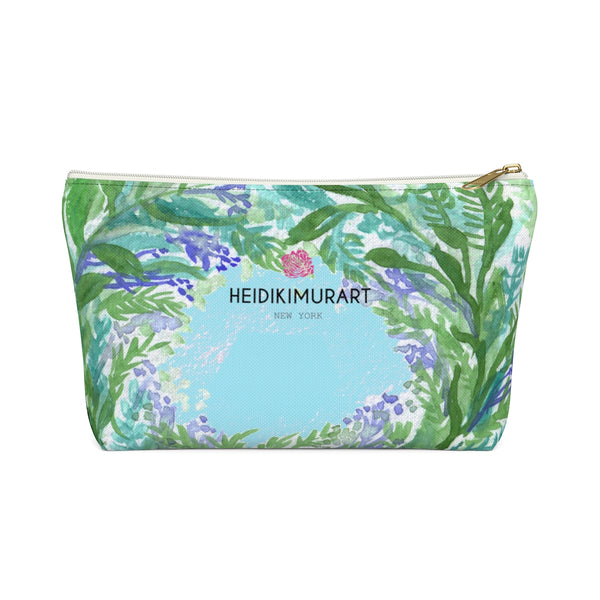 Blue Floral Print Accessory Pouch with T-bottom, French Lavender Floral Designer Makeup Bag-Accessory Pouch-White-Small-Heidi Kimura Art LLC Blue Floral Makeup Bag, Baby Blue French Lavender Floral Print Designer Accessory Pouch with T-bottom-Made in USA