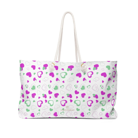 White Pink Hearts Valentine's Day Designer Weekender Bag Gift For Her- Made in USA-Weekender Bag-24x13-Heidi Kimura Art LLC