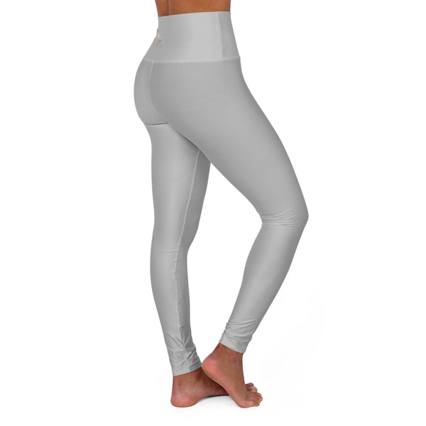 Light Grey High Waisted Yoga Leggings, Solid Color Long Women Yoga Tights-All Over Prints-Printify-XL-Heidi Kimura Art LLC