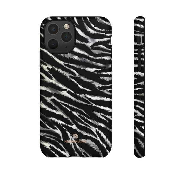 White Tiger Stripe Phone Case, Animal Print Tough Designer Phone Case -Made in USA-Phone Case-Printify-iPhone 11 Pro-Matte-Heidi Kimura Art LLC