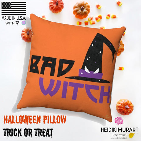 Witch Halloween Pillow, Bad Witch Premium Spun Polyester Square Pillow - Made in USA-Pillow-Heidi Kimura Art LLC