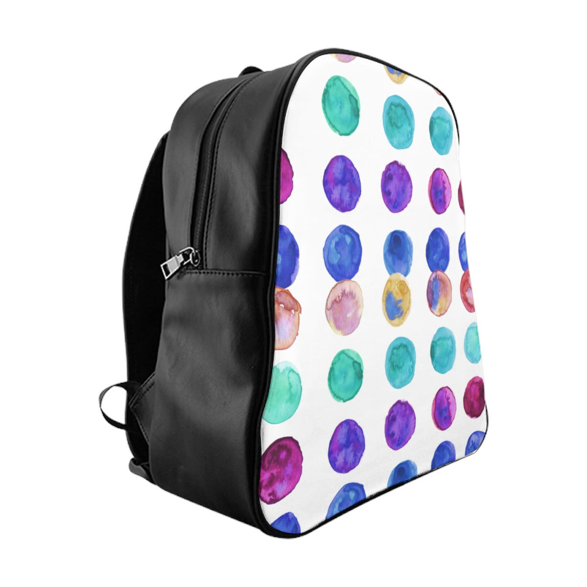 Cute Colorful Watercolor Blue Purple Green Polka Dots Print Designer School Backpack-Backpack-Large-Heidi Kimura Art LLC