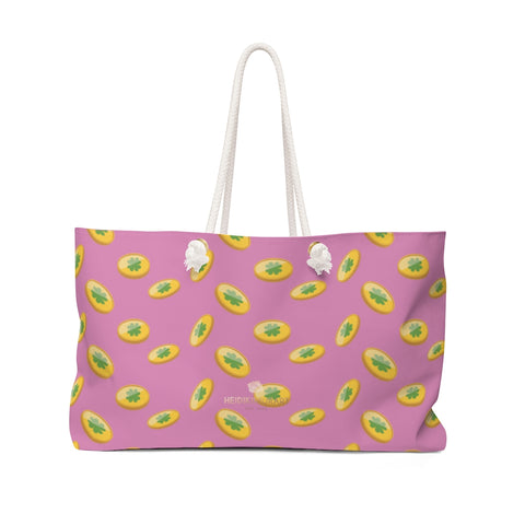 "Light Pink Green Gold Coins St. Patrick's Day Irish Print 24""x13""Weekender Bag- Made in USA-Weekender Bag-24x13-Heidi Kimura Art LLC"
