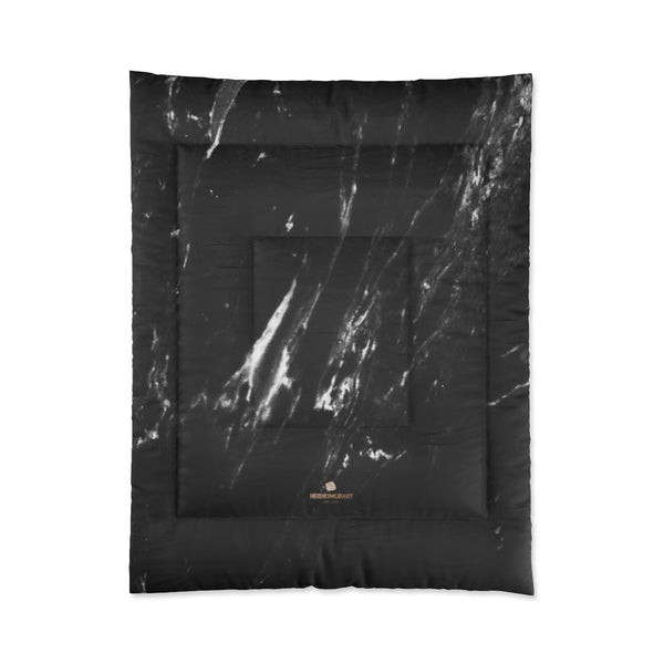 Black Marble Print Comforter, Luxury Best Comforter For King/Queen/Full/Twin Size Bed-Comforter-68x88-Heidi Kimura Art LLC