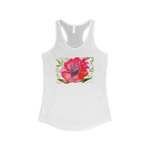 Red Designer Best Floral Women's Ideal Racerback Tank - Made in the USA-Tank Top-Solid White-XS-Heidi Kimura Art LLC