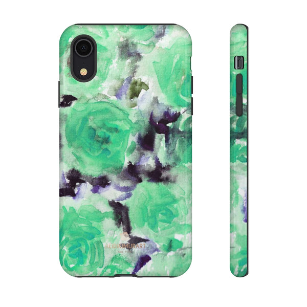 Turquoise Floral Print Tough Cases, Designer Phone Case-Made in USA-Phone Case-Printify-iPhone XR-Glossy-Heidi Kimura Art LLC