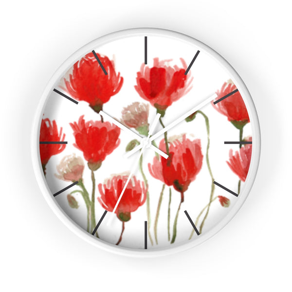 Orange Red Tulips Floral Print Large 10 inch Diameter Flower Wall Clock - Made in USA-Wall Clock-White-White-Heidi Kimura Art LLC