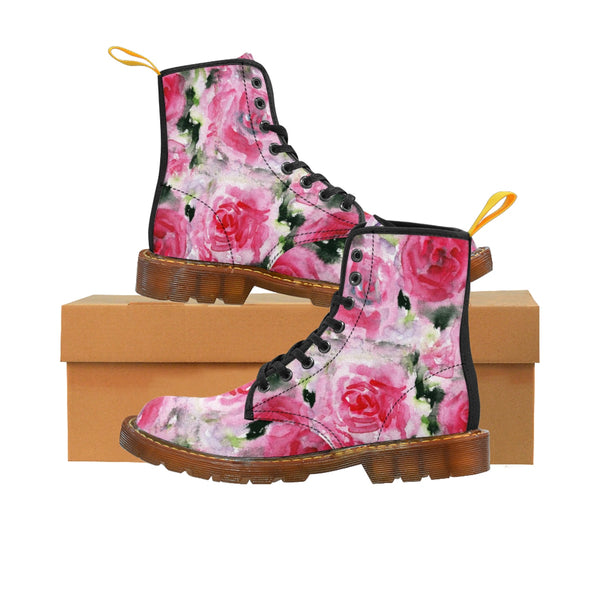 Pink Rose Floral Print Designer Women's Winter Lace-up Toe Cap Boots Shoes (US 6.5-11)-Women's Boots-Heidi Kimura Art LLC