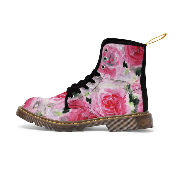 Pink Rose Floral Print Designer Women's Winter Lace-up Toe Cap Boots Shoes (US 6.5-11)-Women's Boots-Brown-US 10-Heidi Kimura Art LLC