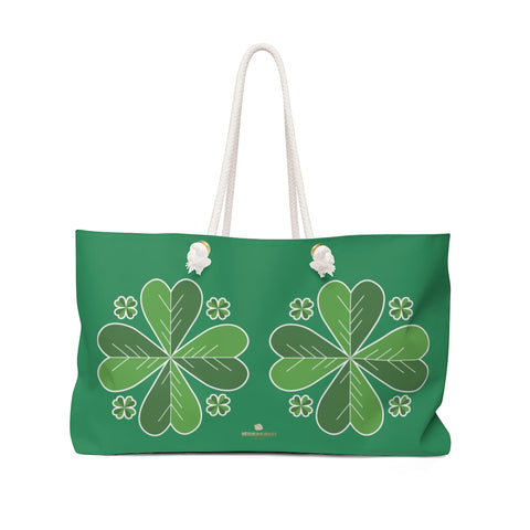 "Dark Green Clover Leaf St. Patrick's Day Irish Print 24""x13""Weekender Bag- Made in USA-Weekender Bag-24x13-Heidi Kimura Art LLC"