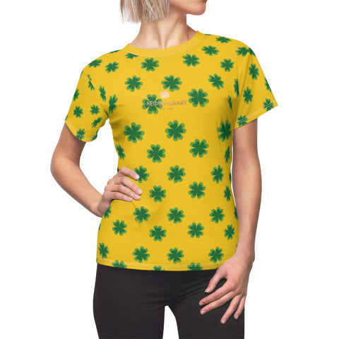Yellow Green Clover Print St. Patrick's Day Women's Premium Crewneck Tee- Made in USA-Women's T-Shirt-Heidi Kimura Art LLC