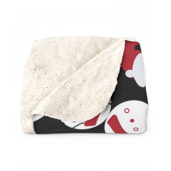 Black White Red Christmas Cute Fluffy Snowman Print Cozy Sherpa Fleece Blanket-Blanket-Heidi Kimura Art LLC Black Christmas Fleece Blanket, Black White Red Christmas Cute Fluffy Snowman Print Designer Soft Comfortable Sherpa Fleece Blanket Cozy Sherpa 100% Polyester Fleece Blanket With Plush Backside - Made in USA
