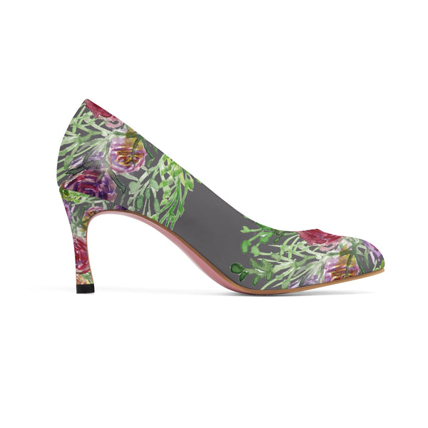 "Light Grey Bridal Wedding Rose Flower Floral Print Women's 3"" High Heels-3 inch Heels-Heidi Kimura Art LLC"
