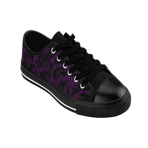Dark Purple Leopard Animal Print Premium Men's Low Top Canvas Sneakers Tennis Shoes-Men's Low Top Sneakers-Heidi Kimura Art LLC Dark Purple Leopard Men's Sneakers, Dark Purple Leopard Animal Print  Designer Men's Running Low Top Sneakers Shoes, Men's Designer Leopard Animal Print Tennis Shoes (US Size 7-14)