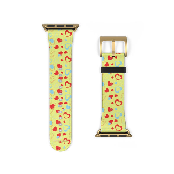 Light Yellow Red Hearts Shaped Valentines Day Print Premium 38mm/42mm Watch Band- Made in USA-Watch Band-38 mm-Gold Matte-Heidi Kimura Art LLC